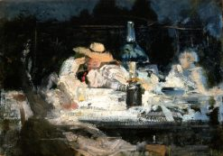 Figures Seated Around a Lamp | Jean-Alexandre-Joseph Falguiere | oil painting