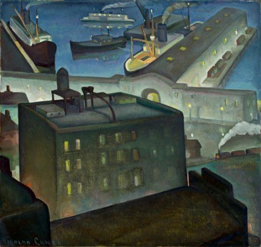 The Embarcadero at Night | Rinaldo Cuneo | oil painting