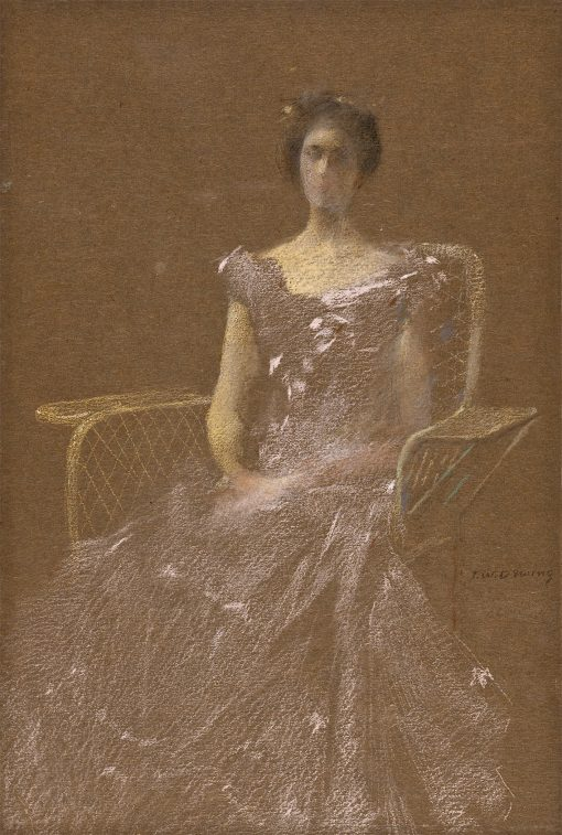 Lady in Rattan Armchair | Thomas Wilmer Dewing | oil painting