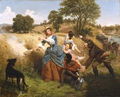 Mrs. Schuyler Burning Her Wheat Fields on the Approach of the British | Emanuel Gottlieb Leutze | oil painting