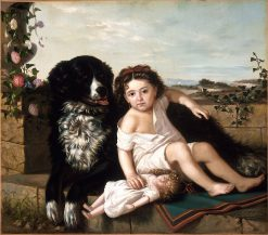 Portrait of a Girl wth Dog | Erneste Etienne de Francheville Narjot | oil painting
