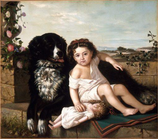 Portrait of a Girl wth Dog | Erneste Etienne de Francheville Narjot | oil painting