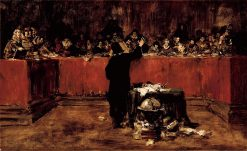 Columbus before the Council of Salamanca (sketch) | William Merritt Chase | oil painting