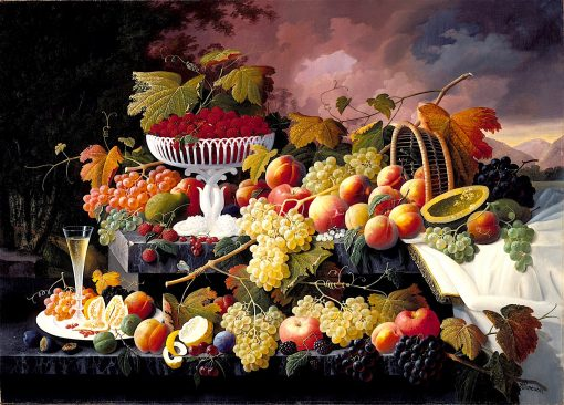 Fruit Still Life in a Landscape | Severin Roesen | oil painting