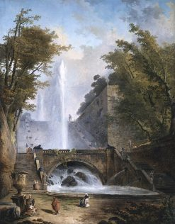Stair and Fountain in the Park of a Roman Villa | Hubert Robert | oil painting