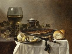 Still Life with Herring, Wine and Bread