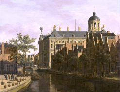 The Nieuwezijds Voorburgwal with the Flower and Tree Market in Amsterdam | Gerrit Berckheyde | oil painting