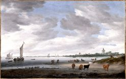 View of the River Lek and the Town of Vianen | Salomon van Ruysdael | oil painting