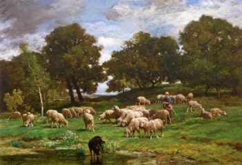 Shepherdess and Her Flock | Charles-emile Jacque | oil painting