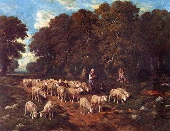 A Shepherdess with Her Flock | Charles-emile Jacque | oil painting
