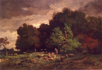 A Shepherd with His Flock | Charles-emile Jacque | oil painting