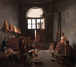 The Studio of Jacques - Louis David | Leon-Mathieu Cochereau | oil painting
