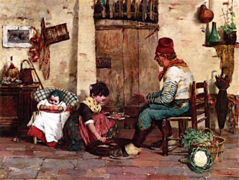 Serving Lunch | Cesare Laurenti | oil painting