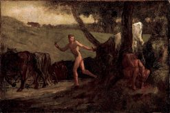 Study for Mercury Leading the Cows of Argus to Water | Jean-Francois Millet | oil painting