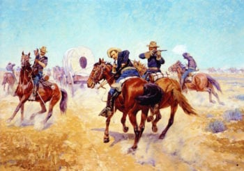 Protecting the Emigrants | Charles Schreyvogel | oil painting