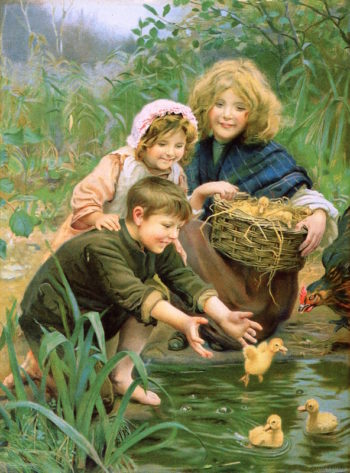 Their First Swim | Arthur John Elsley | oil painting