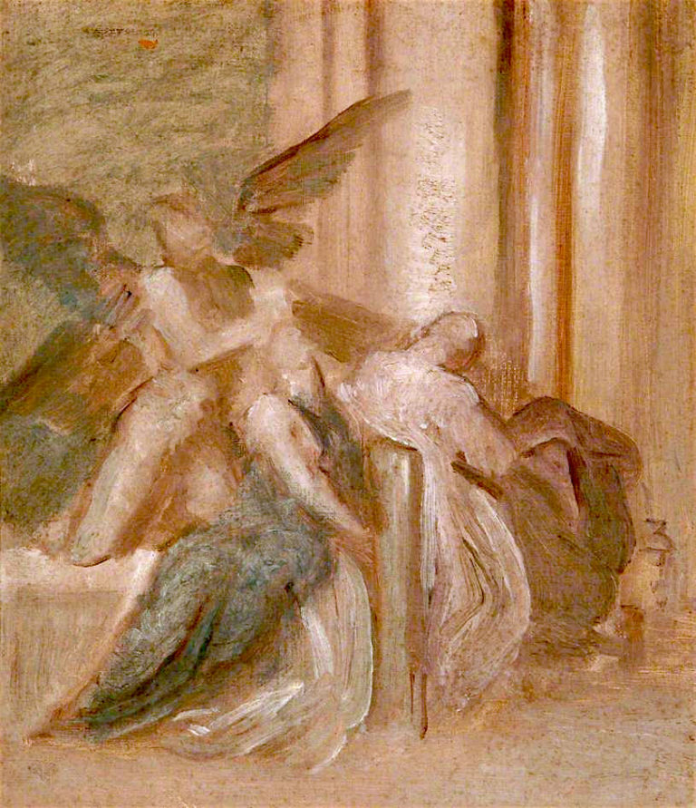 Death with Two Angels   George Frederic Watts   oil painting