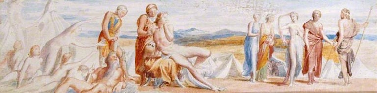 Achilles and Briseis (study)   George Frederic Watts   oil painting