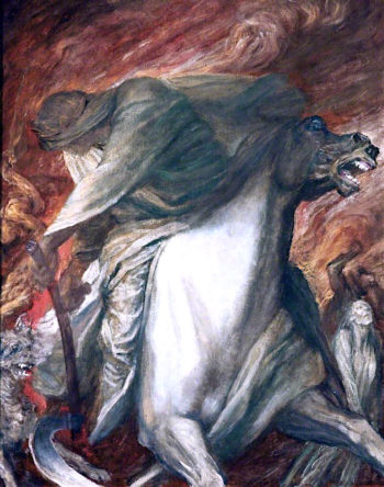 The Four Horsemen of the Apocalypse -  The Rider on the Pale Horse | George Frederic Watts | oil painting