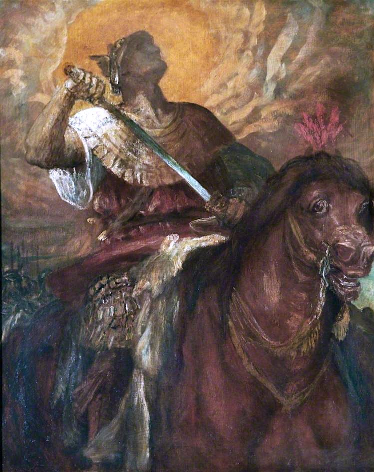 The Four Horsemen of the Apocalypse -  The Rider on the Red Horse | George Frederic Watts | oil painting