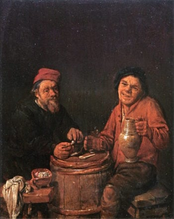 Two Peasants Smoking and Drinking | Abraham Diepraem | oil painting