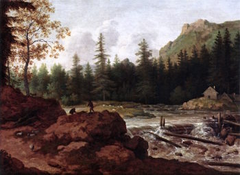 A Scandinavian River Landscape with Herdsmen on a Rock by a Waterfall | Allaert van Everdingen | oil painting