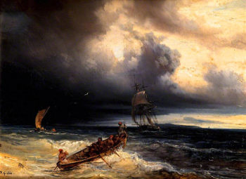 Seascape with Three Boats | Theodore Gudin | oil painting