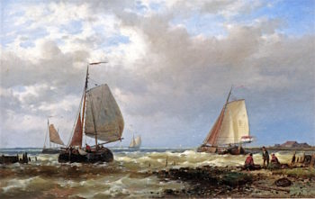 Shipping in a Stiff Breeze of the Dutch Coast | Abraham Hulk | oil painting
