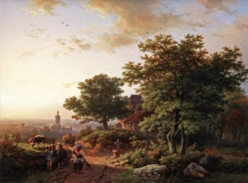 A Mountainous Landscape with a View on a Town in the Distance | Barend Cornelis Koekkoek | oil painting