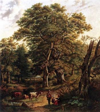 A Forest with Figures Resting near a Stream | Bonifacius Cornelis Schneiders van Greyffenswerth | oil painting