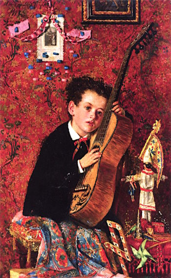 Boy with Guitar | Antonio Mancini | oil painting