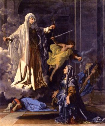 LApparition de sainte Francoise Romaine   Nicolas Poussin   oil painting