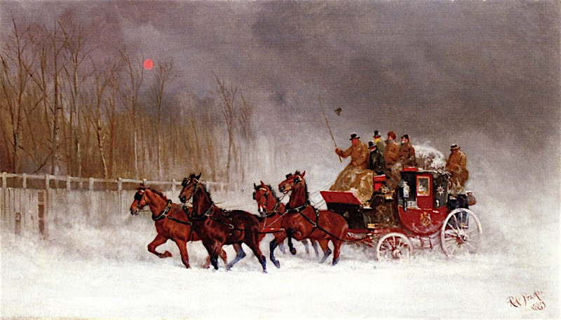 The Winter Royal Mail Coach | Alfred de Prades | oil painting