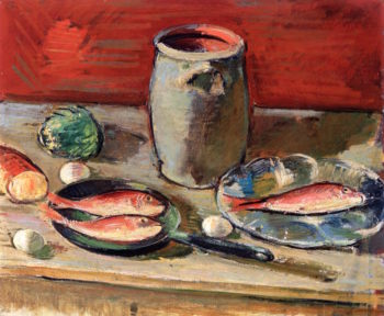 Still Life with Fish and Stein | Anton Faistauer | oil painting