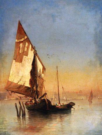 Venetian Barges | Felix-Francois-Georges-Philbert Ziem | oil painting