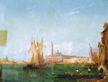 Venetian Scene -  Gondolas and Sailing Boats | Felix-Francois-Georges-Philbert Ziem | oil painting