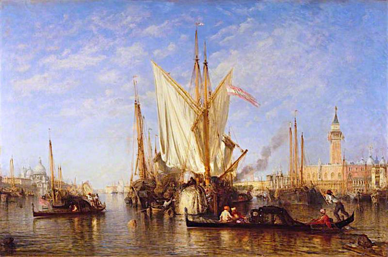 Venice -  the Bacino di San Marco with Fishing Boats | Felix-Francois-Georges-Philbert Ziem | oil painting