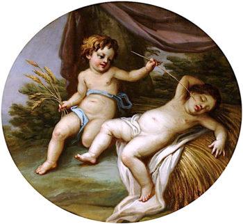 A Putto Being Woken from Sleep by Tickling of His Nose | Antonio Zucchi | oil painting