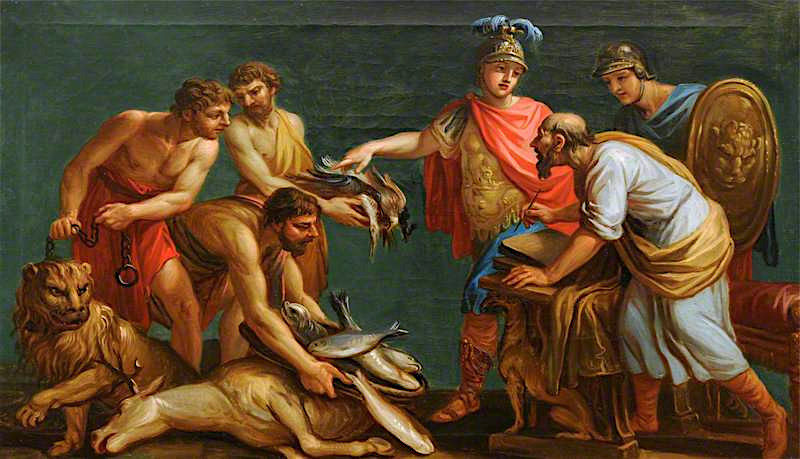 An Unidentified Classical Subject -  A Quarrel over a Dead Ass | Antonio Zucchi | oil painting
