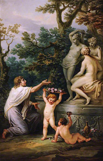 Anacreon Sacrificing to the Three Graces | Antonio Zucchi | oil painting