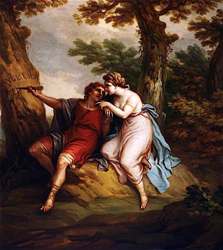 Angelica and Medoro -  Medoro Carving the Name of Angelica into the Trunk of a Tree | Antonio Zucchi | oil painting