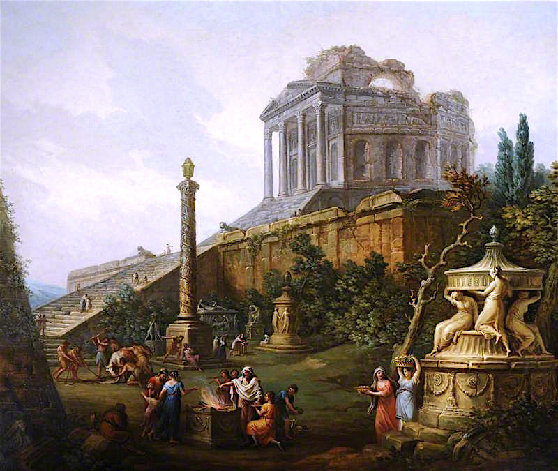 Capriccio with a Pagan Temple and a Sacrifice   Antonio Zucchi   oil painting