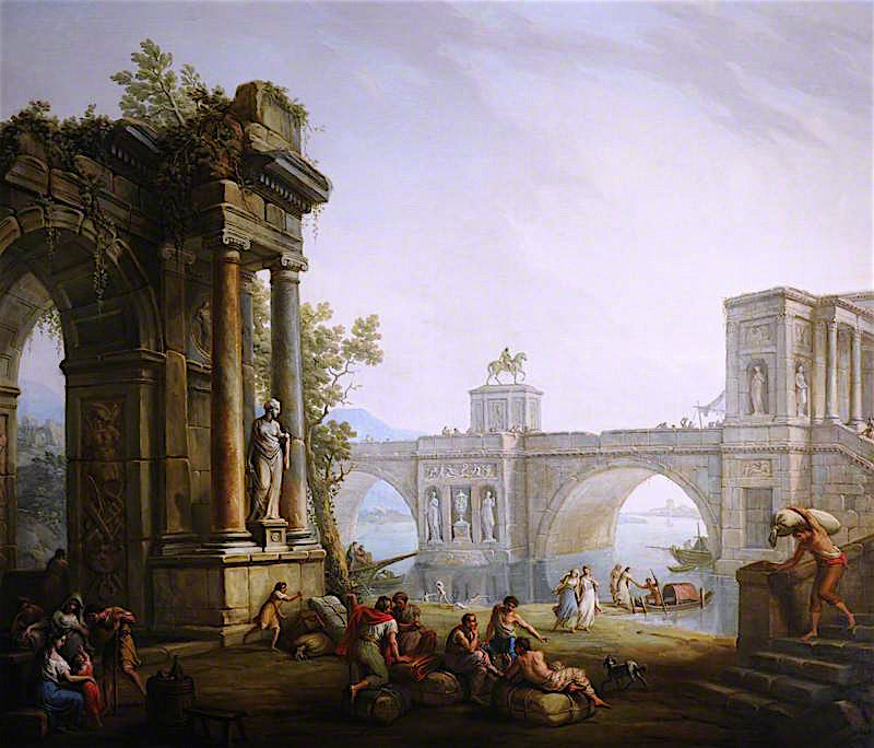 Capriccio with the Ruins of a Triumphal Arch and a Bridge   Antonio Zucchi   oil painting