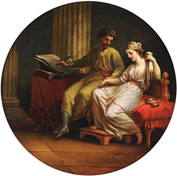 Catullus Comforting Lesbia over the Death of Her Pet Sparrow and Writing an Ode | Antonio Zucchi | oil painting