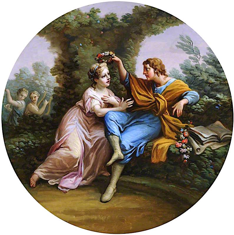 Daphnis Bestowing a Garland of Flowers on Chloe | Antonio Zucchi | oil painting