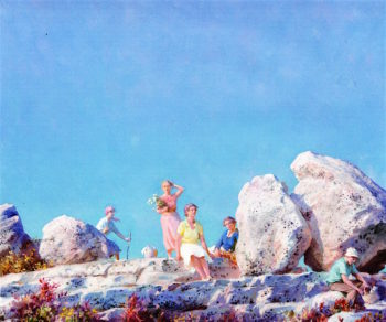 Picnic by the Balanced Boulders | Charles Courtney Curran | oil painting