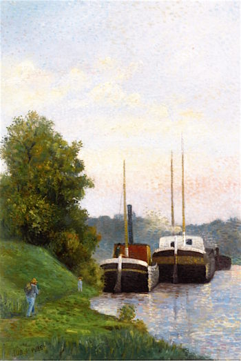 Barges on the Seine | Albert Dubois-Pillet | oil painting
