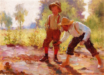 Two Boys Playing | Adam Emory Albright | oil painting