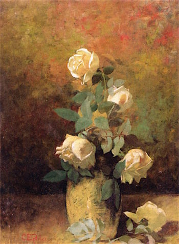 Still Life with Yellow Roses in a Vase | Charles Ethan Porter | oil painting