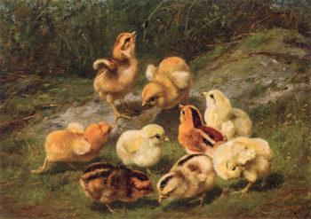 Nine Chicks and Leaf | Arthur Fitzwilliam Tait | oil painting